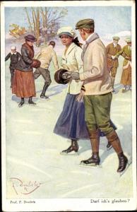 Künstler Ak Doubek, F., Darf ich's glauben, Liebespaar beim Eislaufen