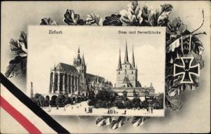 Passepartout Ak Erfurt in Thüringen, Dom, Severikirche, Eisernes Kreuz