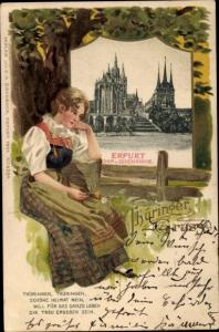 Passepartout Ak Erfurt in Thüringen, Dom, Severikirche, Frau in Tracht
