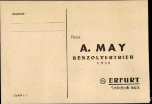 Ak Erfurt in Thüringen, A. May Benzolvertrieb GmbH, Bestellzettel