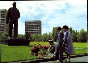 Ak Gemeinsamer Kosmosflug UdSSR/DDR, Waleri Bykowski, Sigmund Jähn, Gagarin Denkmal
