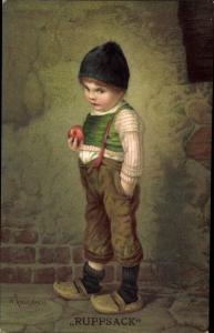 Künstler Litho Kaulbach, Hermann, Ruppsack, Junge mit Apfel, Hosenträger, Novitas 10679