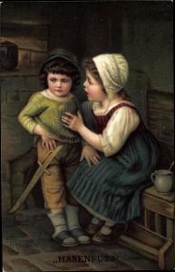 Künstler Ak Kaulbach, Hermann, Hasenfuss, Junge, Mädchen, Holzschwert, Novitas 10681