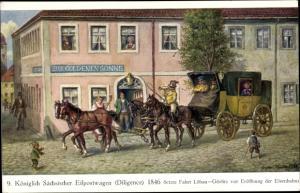 Künstler Ak Müller, Gustav, Königlich Sächsischer Eilpostwagen 1846, Diligence