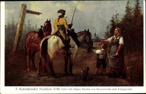 Künstler Ak Müller, Gustav, Kursächsischer Postillion 1790, auf dem Weg nach Königsbrück
