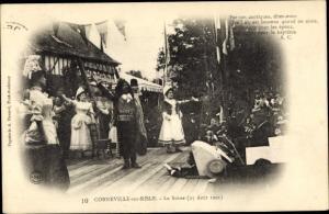 Ak Corneville sur Risle Eure, La Scène, 25 Août 1901