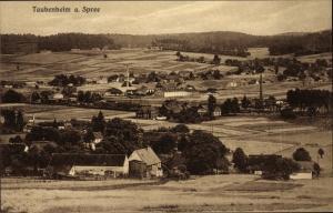Ak Taubenheim an der Spree Sohland an der Spree in , Panorama vom Ort, Felder, Industrieschornsteine