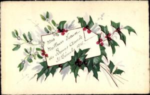 Handgemalt Ak Mes meilleurs Voeux de Bonne Année, Glückwunsch Neujahr
