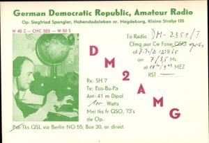 Ak German Democratic Republic, Amateur Radio, DM2AMG, QSL Karte