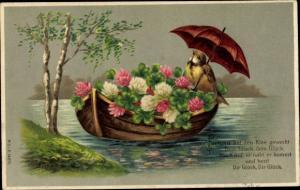 Präge Litho Ruderboot mit Kleeblättern, Vogel mit Regenschirm