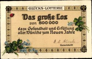 Litho Glückwunsch Neujahr, Glücks Lotterie, Das große Los, Kleeblätter