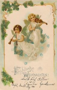 Perl Litho Glückwunsch Weihnachten, Zwei Engel mit Geige und Doppelflöte