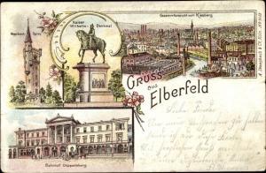 Litho Elberfeld Wuppertal in Nordrhein Westfalen, Totale vom Kiesberg, Bahnhof Döppersberg, Denkmal