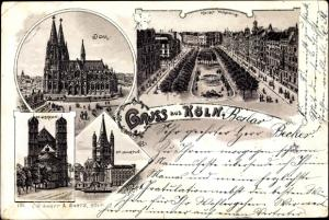 Litho Köln am Rhein, Dom, Kaiser Wilhelm Ring, St. Gereon, St. Martin