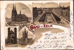Litho Köln am Rhein, Dom, Kaiser Wilhelmring, St. Gereon, St. Martin