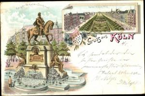 Litho Köln am Rhein, Kaiser Wilhelm Denkmal, Kaiser Wilhelm Ring