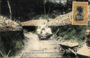 Ak Congo Belge DR Kongo Zaire, Route des Chutes de Nsendive, Une tranchee