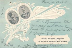 Präge Passepartout Ak Paris, Vittorio Emanuele III., König Viktor Emanuel II, Königin Elena