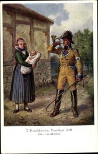 Künstler Ak Müller, Gustav, Kursächsischer Postillion 1780, Frau, Baby