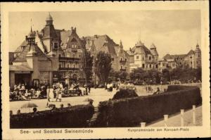 Ak Świnoujście Swinemünde Pommern, Kurpromenade am Konzertplatz