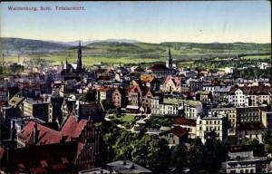 Ak Wałbrzych Waldenburg Schlesien, Totalansicht der Ortschaft
