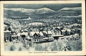 Ak Karpacz Krummhübel Riesengebirge Schlesien, Totalansicht, Winter