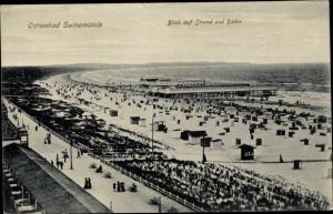 Ak Świnoujście Swinemünde Pommern, Blick auf Strand und Bäder