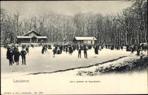 Ak Lausanne Kt. Waadt Schweiz, Lac a patiner de Sauvabelin, Eislaufen