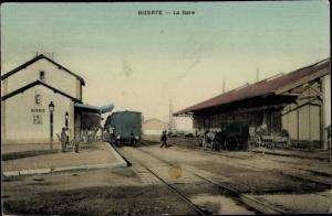 Ak Bizerte Tunesien, La Gare, Bahnhof