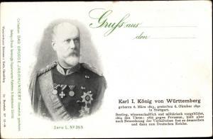 Ak Karl I., König von Württemberg, Portrait