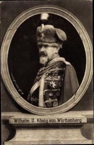 Passepartout Ak Wilhelm II, König von Württemberg, Husarenuniform, Portrait