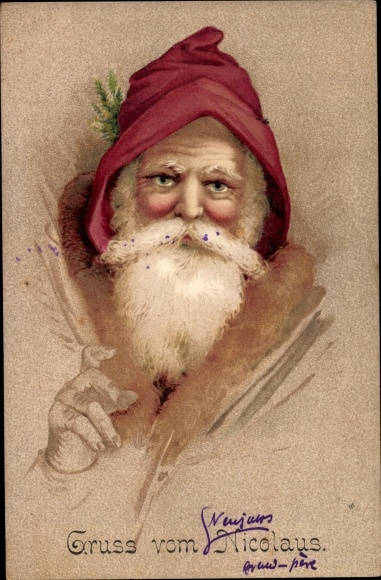 Ak Frohe Weihnachten, Weihnachtsmann, Nikolaus, Portrait 0
