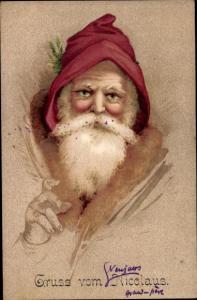 Ak Frohe Weihnachten, Weihnachtsmann, Nikolaus, Portrait