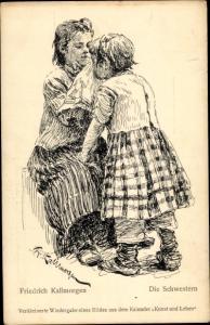 Künstler Ak Kallmorgen, Friedrich, Die Schwestern
