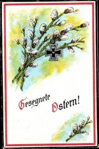 Präge Passepartout Ak Glückwunsch Ostern, Weidenkätzchen, Eisernes Kreuz