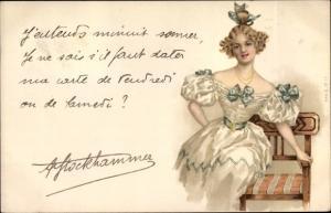 Litho Frau in Ballkleid auf einer Bank, Hochsteckfrisur