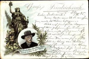 Vorläufer Litho Fürst Otto von Bismarck, Zitat, Wir Deutschen fürchten Gott, 1895