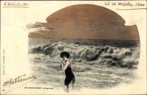 Ak Baigneuses, l'angoisse, Frau im Badeanzug am Strand