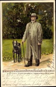 Litho Fürst Otto von Bismarck, Portrait, Hund