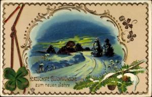 Präge Litho Glückwunsch Neujahr, Kleeblatt, Landschaft