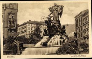 Ak Szczecin Stettin Pommern, Manzelbrunnen