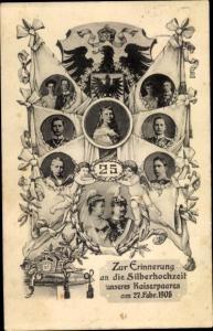 Ak Silberhochzeit des Kaiserpaares, Prinzessin Victoria Luise, Kronprinz, Cecilie, Wilhelm II