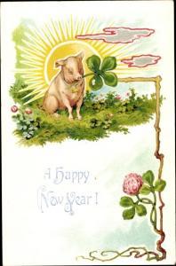 Präge Litho Glückwunsch Neujahr, Schwein, Kleeblätter