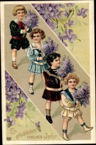 Präge Litho Glückwunsch Neujahr, Kinder mit Veilchenblüten