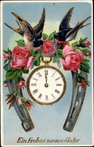 Präge Litho Glückwunsch Neujahr, Hufeisen, Rosen, Schwalben, Uhr