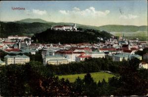 Ak Ljubljana Slowenien, Blick auf den Ort