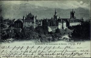 Mondschein Ak Lausanne Kt. Waadt Schweiz, Montagnes de Savoie, Blick auf den Ort