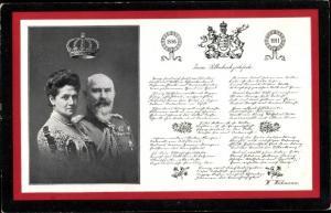 Ak König Wilhelm II von Württemberg, Charlotte zu Schaumburg Lippe, Silberhochzeit 1911