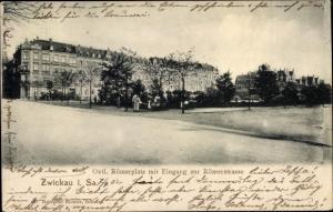 Ak Zwickau in Sachsen, Östlicher Römerplatz mit Eingang zur Römerstraße