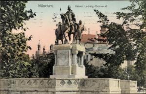 Ak München Bayern, Kaiser Ludwig Denkmal